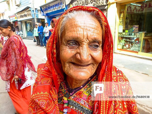 portrait of friendly old woman at street in Bhuj  Gujarat  India