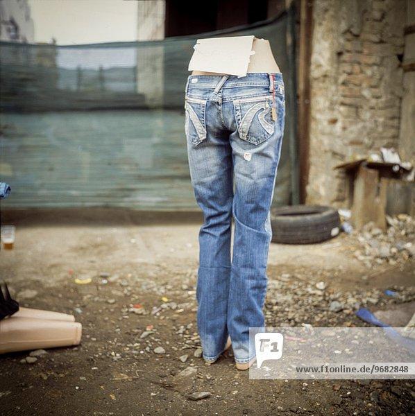 Straße verkaufen Tschechische Republik Tschechien blau Jeans