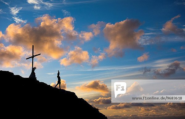 Berg Sonnenaufgang strecken Großstadt Ignoranz Jogger Kanaren Kanarische Inseln Las Palmas