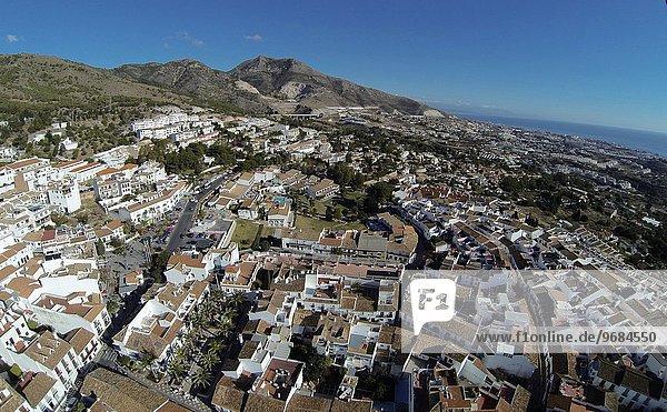 Dorf Ansicht Luftbild Fernsehantenne Andalusien Benalmádena Spanien