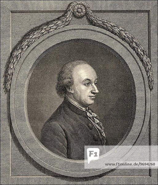 Portrait of Christoph Martin Wieland  1733 - 1813  a German poet  translator and editor of the Age of Enlightenment .