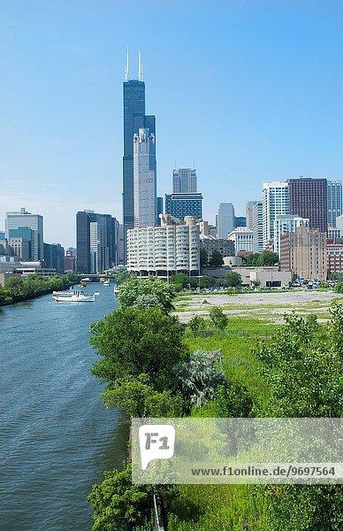 Skyline Skylines Hochhaus Ast Sears Tower Chicago Illinois
