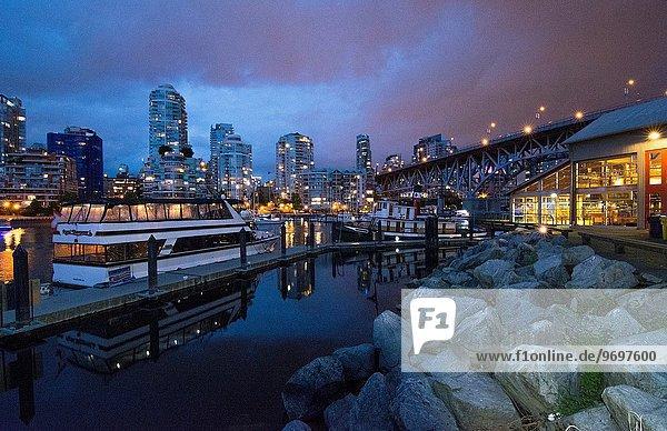 Wasser Nacht Großstadt Boot Insel britisch Kanada Vancouver
