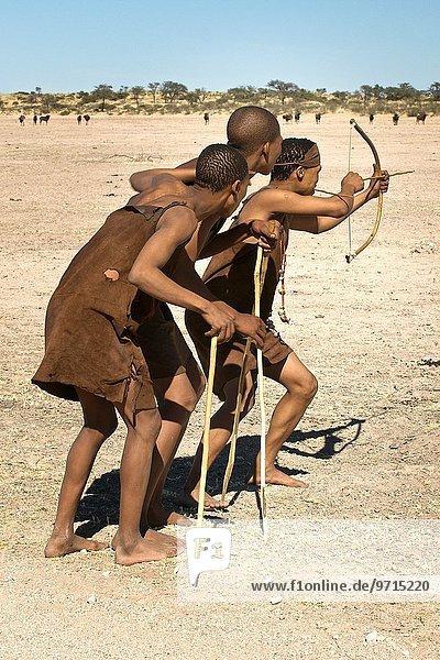entfernt Zusammenhalt Tier Jagd zielen Unterricht Chaos Namibia Pfeilzeichen Pfeil 3 Kleidung Kalahari Afrika Leder Gnu