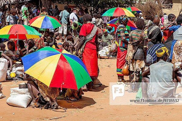 Mensch Menschen Äthiopien Schlüssel Markt Donnerstag
