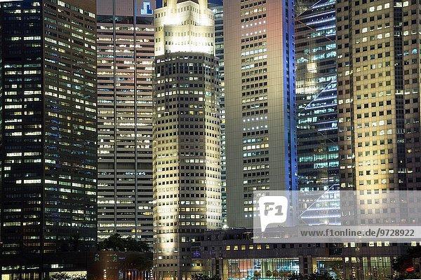 Skyline Skylines Nacht Singapur