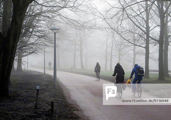Amsterdam Hauptstadt Mensch Menschen radfahren Großstadt Nebel Dummheit bedecken Niederlande