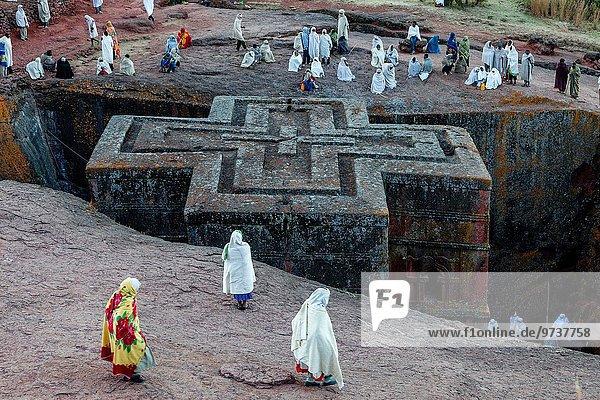 geselliges Beisammensein Kirche Zeit Weihnachten Heiligtum Pilgerer Christ Äthiopien