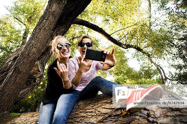 Caucasian women taking cell phone selfie in tree
