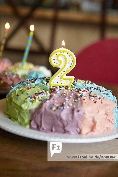 Close-up Geburtstag Kuchen Kerze 2 Nummer