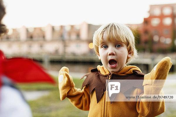 Außenaufnahme Löwe Panthera leo Europäer Junge - Person Kostüm - Faschingskostüm Verkleidung freie Natur spielen