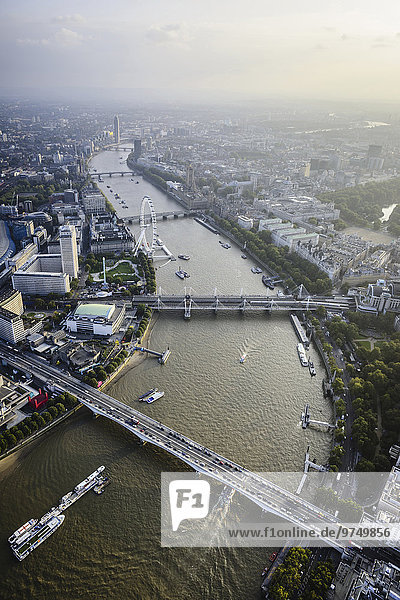 Aerial view of London cityscape and river  England