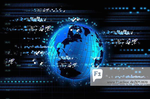 Leuchtend blauer futuristischer Globus mit digitalen Daten und Computercode