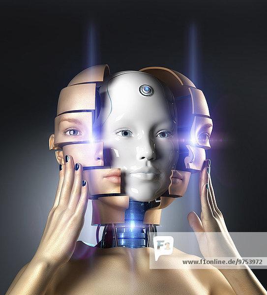 Schöne Frau ersetzt ihr Gesicht durch einen Androidenkopf