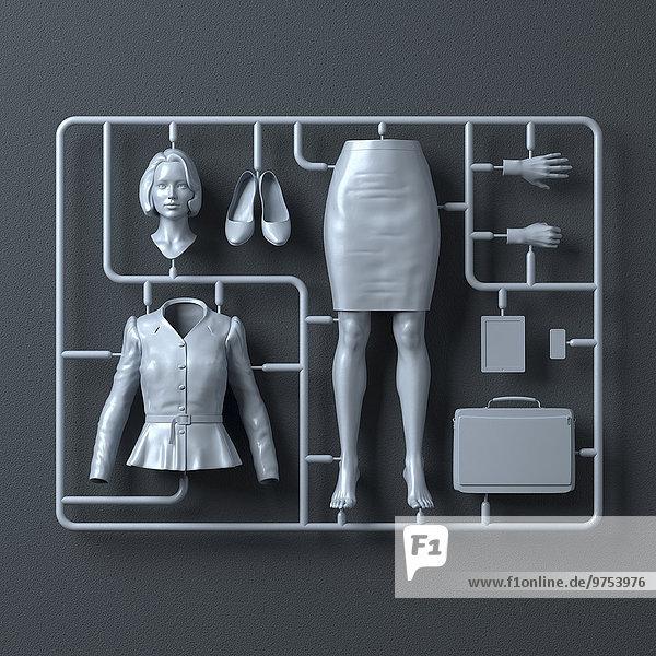 Plastik-Montagesatz für eine Geschäftsfrau