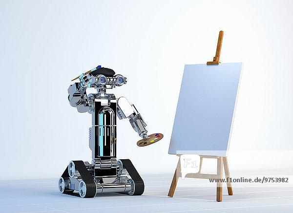 Roboter-Maler malt auf einer leeren Leinwand