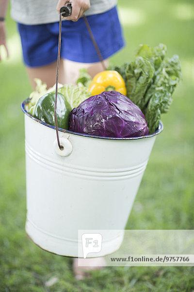 Junge hält einen Eimer mit gemischtem Gemüse.