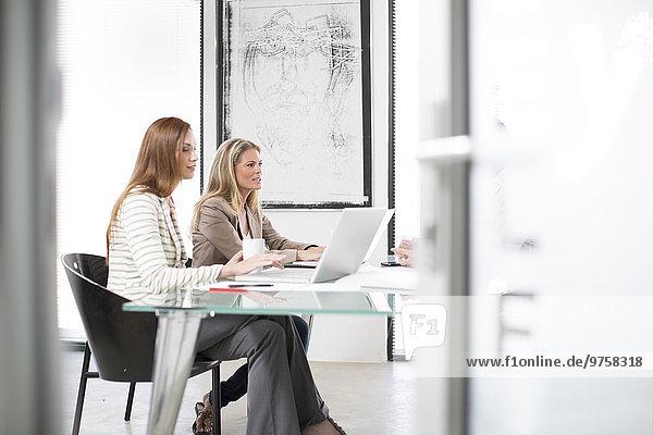 Geschäftsbesprechung mit Laptop im Sitzungssaal