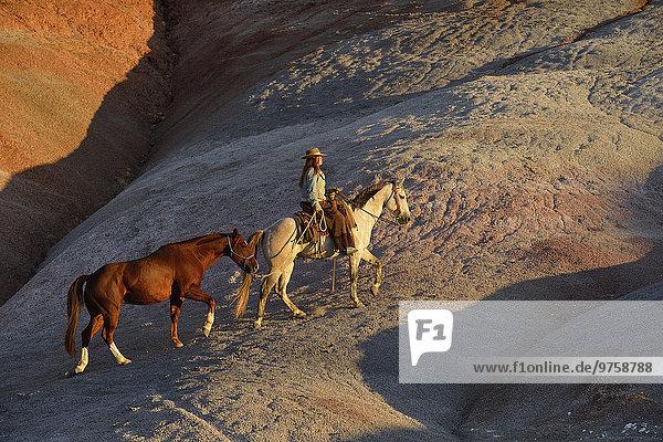 USA  Wyoming  Cowgirl mit zwei Pferden in Badlands