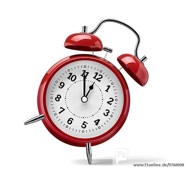 Rote Uhr vor weißem Hintergrund