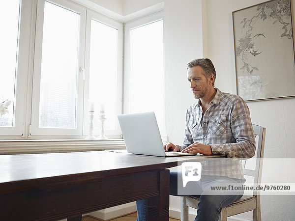 Germany  Cologne  Mature man at home using laptop