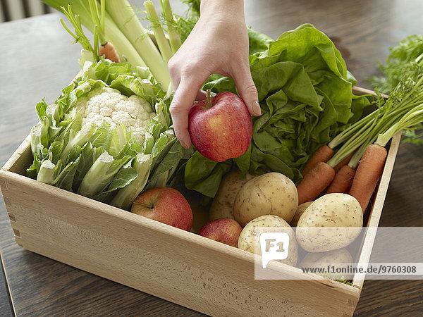 Handaufnahmekiste mit frischem Obst und Gemüse Handaufnahmekiste mit frischem Obst und Gemüse