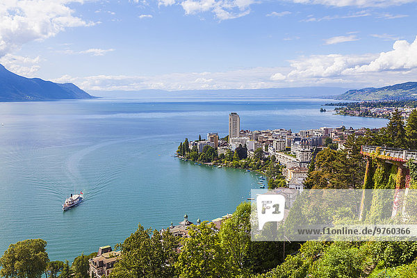 Switzerland  Lake Geneva  Montreux  cityscape with paddlesteamer