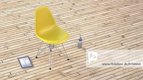 Gelber Stuhl  Wasserflasche und digitales Tablett auf Holzterrasse  3D-Rendering