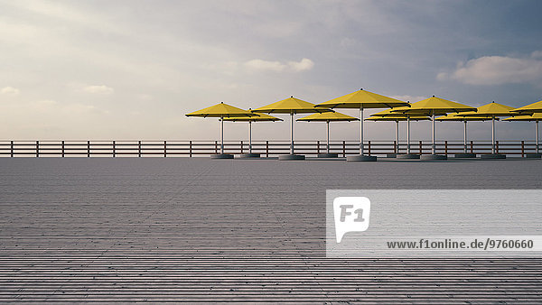 Gelbe Sonnenschirme auf Holzterrasse vor bewölktem Himmel  3D-Rendering