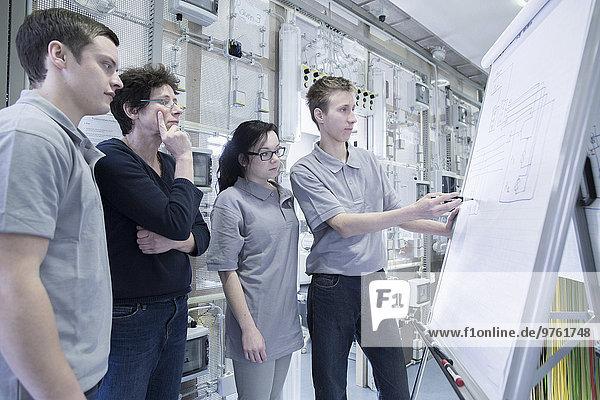 Schüler und Lehrer der Elektronikberufsschule mit Flipchart
