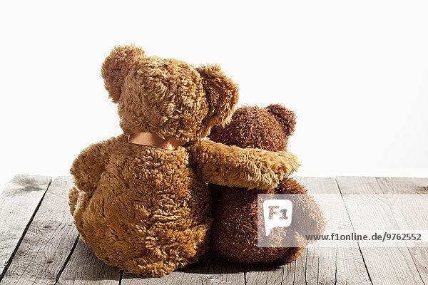Zwei Teddybären  Arm auf Schulter  Rückenansicht auf Holz