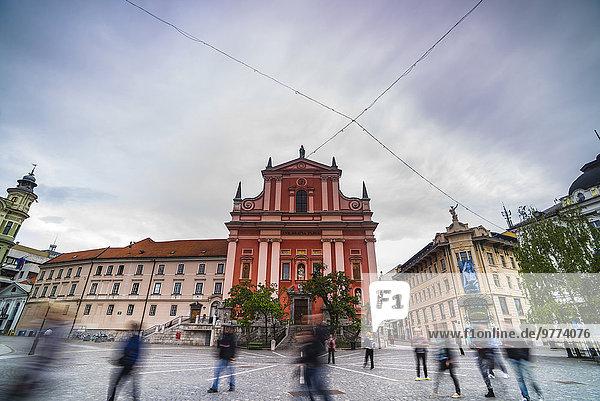 Ljubljana Hauptstadt Europa Tourist Kirche Quadrat Quadrate quadratisch quadratisches quadratischer Slowenien