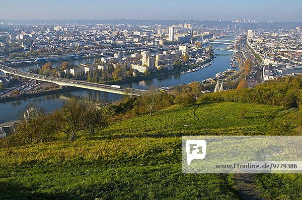 Frankreich Europa offen Hügel Heiligtum Insel Himmel Kirmes Rouen
