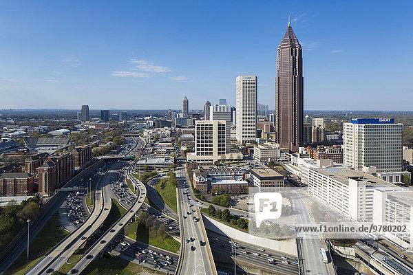 Skyline Skylines passen Amerika über Nordamerika Ansicht Erhöhte Ansicht Aufsicht Verbindung heben Innenstadt Atlanta Interstate