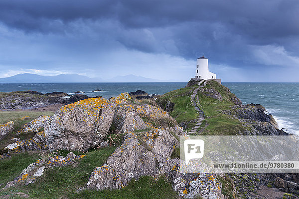 Europa Großbritannien Leuchtturm Insel Wales