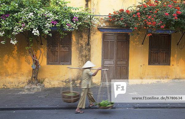 Frau tragen Straße Gemüse Südostasien UNESCO-Welterbe Vietnam Asien Hoi An
