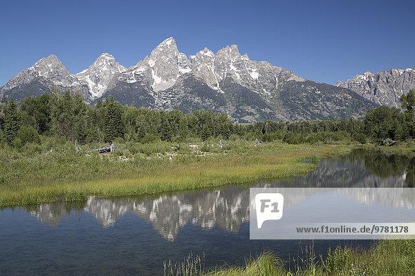 Wasser Amerika nehmen Spiegelung Fernverkehrsstraße Nordamerika Verbindung Ende Reflections Wyoming