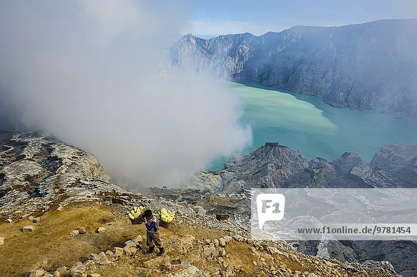 Wolke arbeiten Wasserdampf See beladen frontal groß großes großer große großen Gegenstand Südostasien Krater Asien Indonesien Java