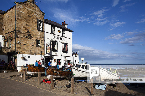 Fishing Boats on The Dock at Robin Hoods Bay  Yorkshire  England  United Kingdom  Europe