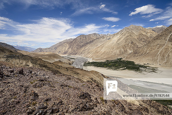 sehen Tal Dorf Nubra Valley Asien Indien Ladakh