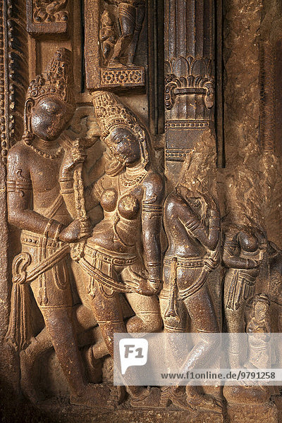 Hindu statues from the time of the Chalukya Empire in a temple at Aihole  Karnataka  India  Asia