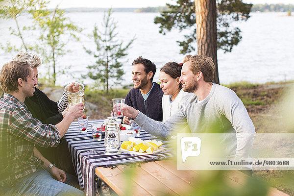 Freunde genießen beim Mittagessen am Seeufer