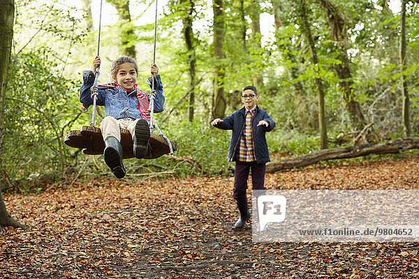 Beech woods in Autumn. A girl sitting on a swing being pushed by her brother.