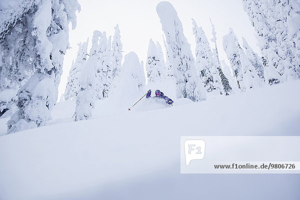 Young man skiing in forest