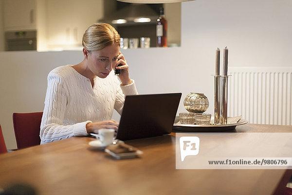 Handy Interior zu Hause benutzen Frau Notebook