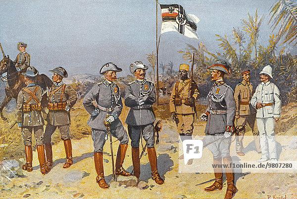 Imperial German colonial troops in German East Africa  1894  historical drawing