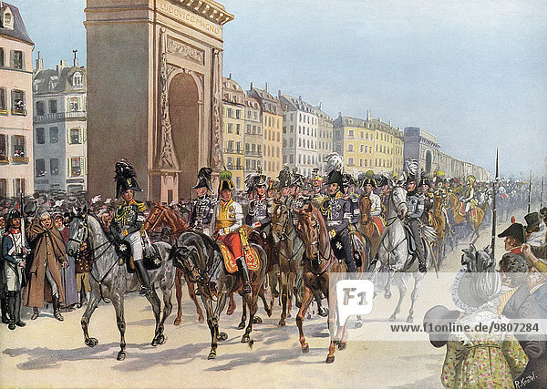 Capitulation of Paris on 31 March 1814  arrival of the victors in Paris  Friedrich Wilhelm III. of Prussia and Alexander I of Russia at the head of the troops  German wars of liberation  color print by Richard Knötel