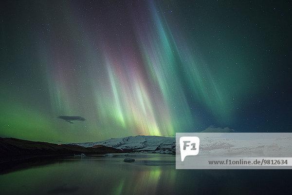 über tanzen Eis Polarlicht Jökulsárlón Lagune