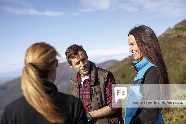Three hikers  Montseny  Barcelona  Catalonia  Spain