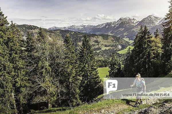 Frau wandert mit Wanderstöcken auf den Zinken  Oberjoch  Bayern  Deutschland
